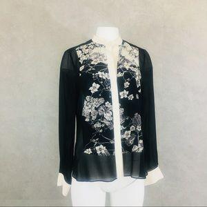 BCBGMaxAzria button down sheer silk blouse M